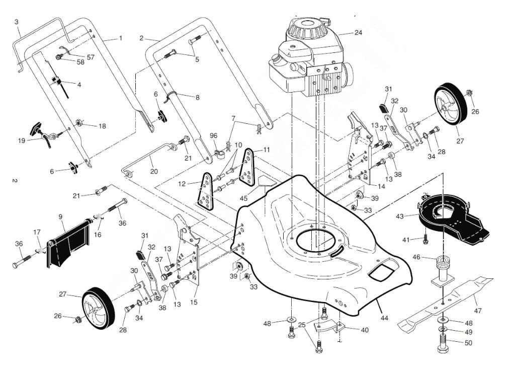 Конструкция газонокосилки, перечень комплектующих