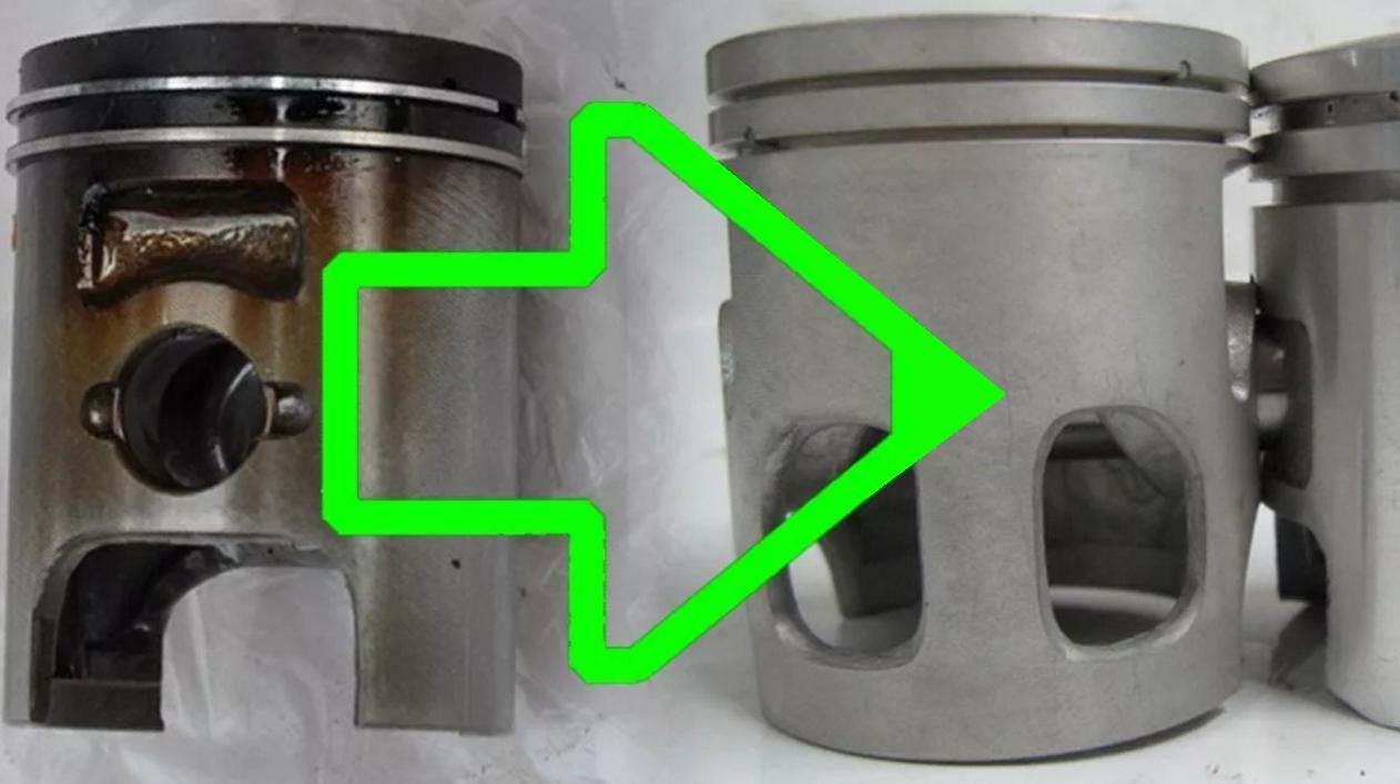 Поршни до и после промывки двигателя от нагара